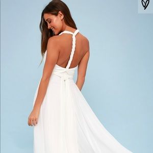 Long white convertible maxi dress
